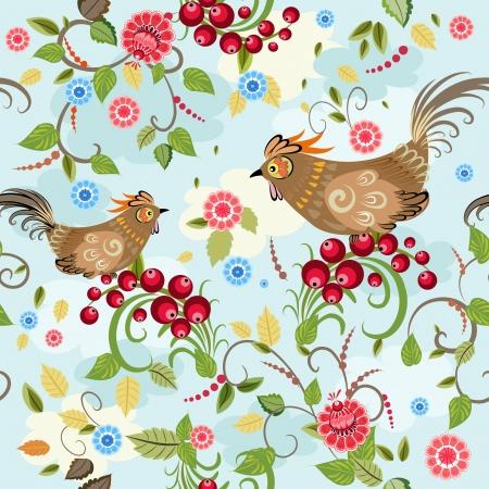 uccelli su ramo: Texture senza soluzione di continuit� uccello ramo bacca Vettoriali