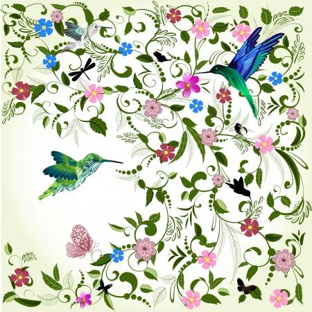 barok ornament: Bloemen achtergrond met vogel