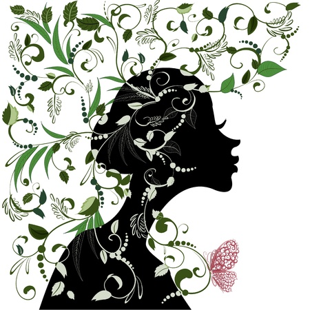 Floral hairstyle, girl and butterfly Illustration