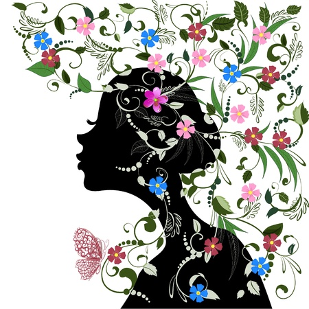 contemporary style: Floral hairstyle, girl and butterfly Illustration