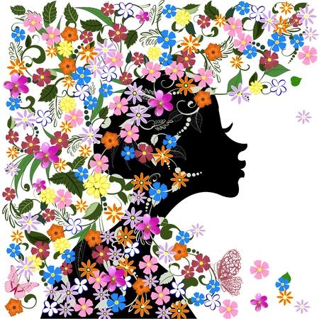donna farfalla: Floral acconciatura, ragazza e la farfalla