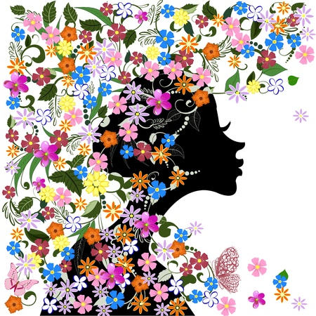 Floral hairstyle, girl and butterfly Stock Vector - 16432721