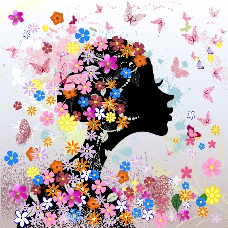 Floral hairstyle, girl and butterfly Stock Vector - 16432728