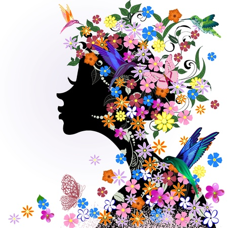 butterflies abstract: Floral hairstyle, girl and butterfly bird Illustration