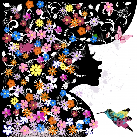 Floral hairstyle, girl and grunge bird Illustration