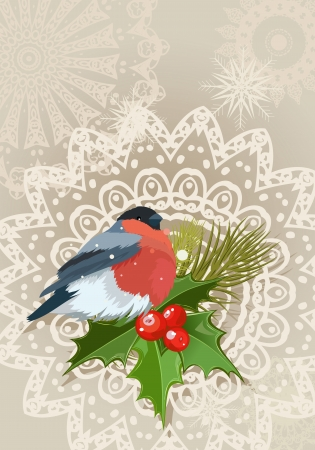 bullfinch Christmas card Vector