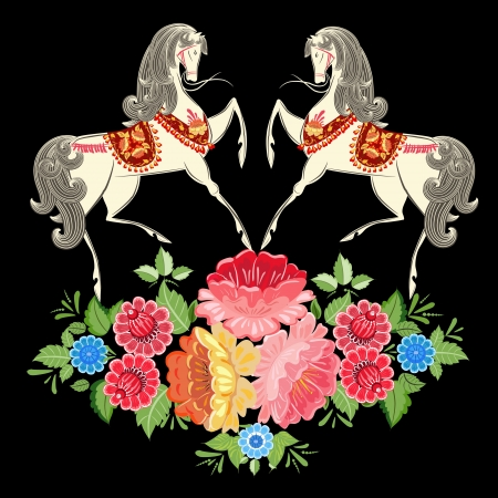 Fairy horses in flowers Vector