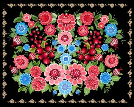 folk art: Floral design style Khokhloma