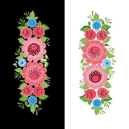 Floral design style Khokhloma Vector