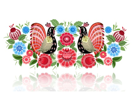 Fairy birds in flowers Vector