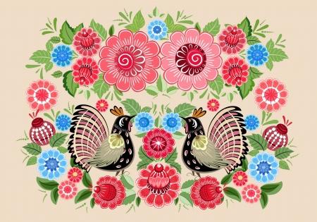 Fairy birds in flowers Vector