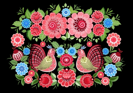 russian tradition: Fairy birds in flowers