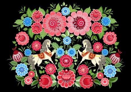 Fairy paarden in bloemen