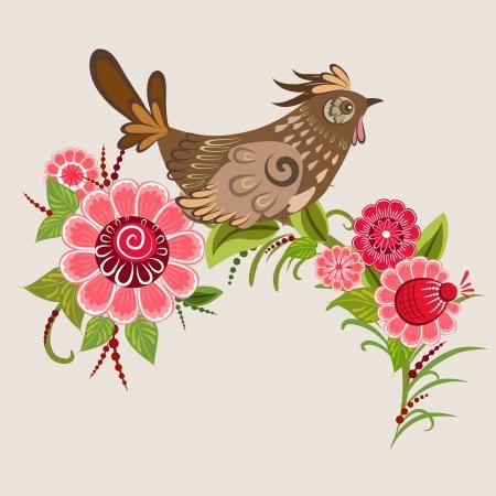 russian culture: Fairy birds in flowers