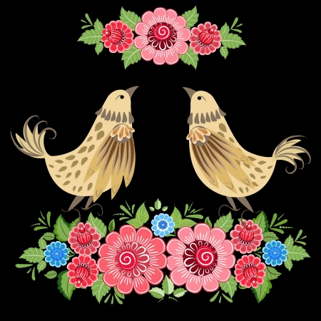 russian tradition: Decorative bird in flowers Khokhloma Illustration
