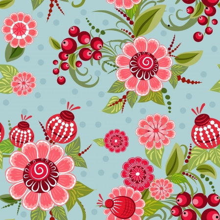 floral fabric: Khokhloma floral seamless