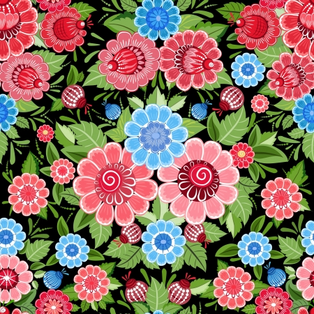 Texture seamless flowers khokhloma