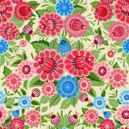 Texture transparente khokhloma fleurs Vecteurs