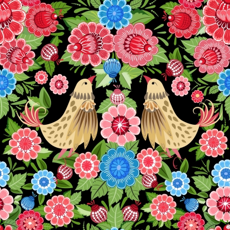 Texture seamless bird and flowers khokhloma Vector