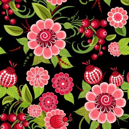 Khokhloma floral seamless Vector
