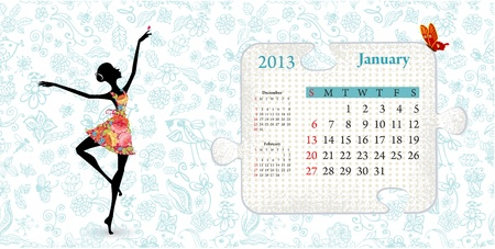 Calendar for 2013, january Vector