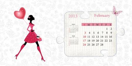 Calendar for 2013, february Stock Vector - 16592921