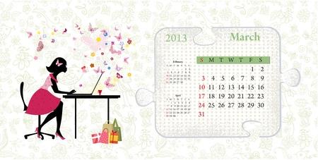 Calendar for 2013, march Stock Vector - 16592922