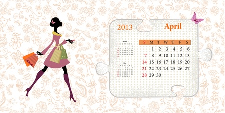 Calendar for 2013, april Vector