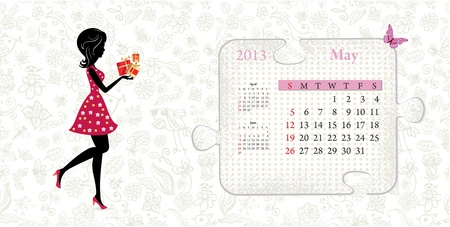 Calendar for 2013, may Vector