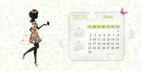 Calendar for 2013, june Vector