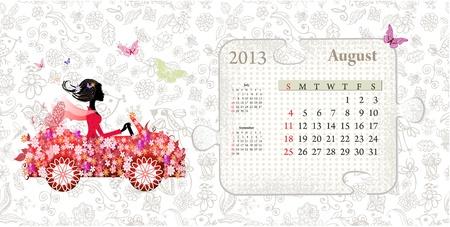 Calendar for 2013, august Vector