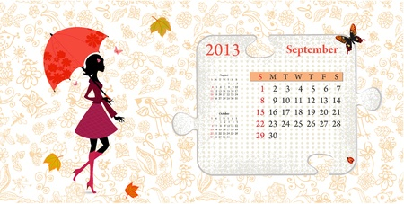 Calendar for 2013, september Stock Vector - 16593009