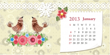 Calendar for 2013, january Stock Vector - 16593019