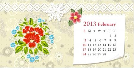 Calendar for 2013, february Vector