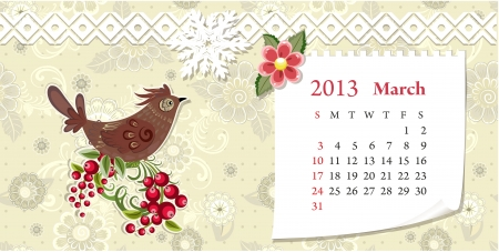 Calendar for 2013, march Vector