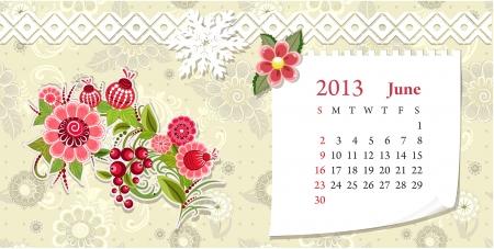 Calendar for 2013, june Stock Vector - 16593032