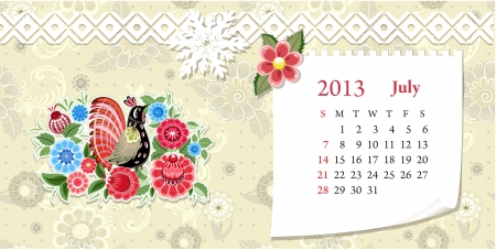 Calendar for 2013, jule Vector