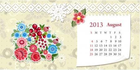 Calendar for 2013, august Stock Vector - 16593092