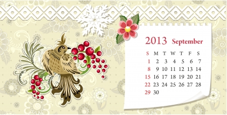 Calendar for 2013, september Vector