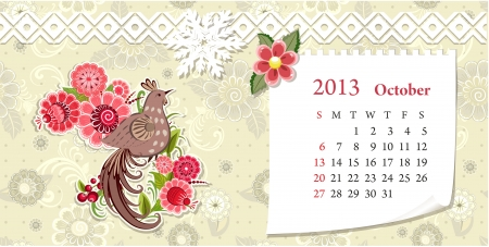 Calendar for 2013, october Vector