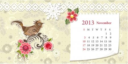 Calendar for 2013, november Vector