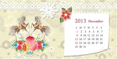 Calendar for 2013, december Vector