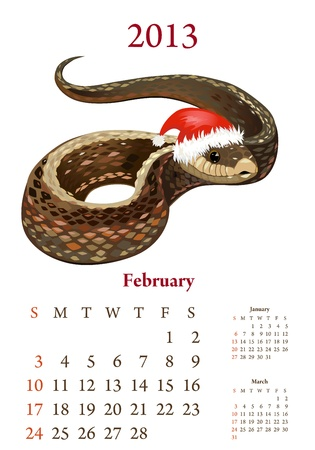bamboo snake: Vintage Chinese-style calendar for 2013, february