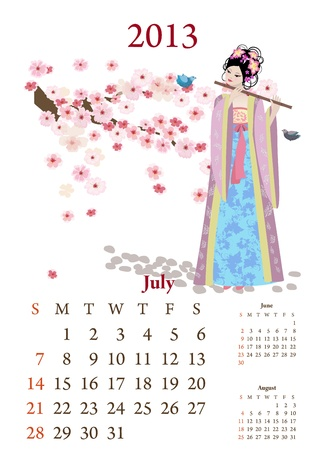Vintage Chinese-style calendar for 2013, july Vector