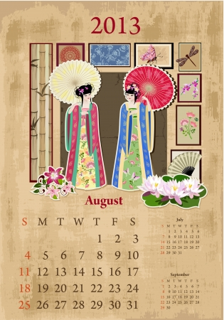 Vintage Chinese-style calendar for 2013, august Vector