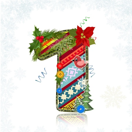 Christmas Art handmade figure 1 Stock Vector - 16593132