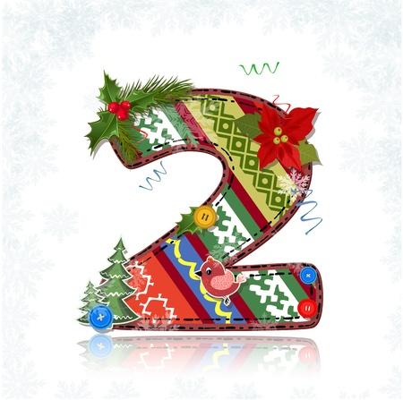 xmas floral: Christmas Art handmade figure 2 Illustration