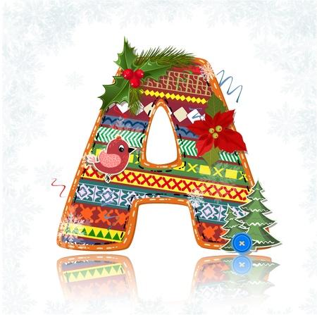 alfabeto con animales: Navidad del arte hecho a mano una carta Vectores