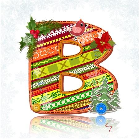 alfabeto con animales: Navidad del arte hecho a mano letra B Vectores