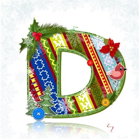 Art Christmas letter handmade Stock Vector - 16593154